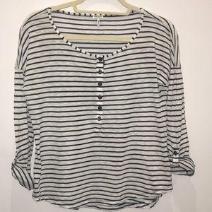 Splendid LA Blue White Stripe 3/4 Sleeve Henley XS